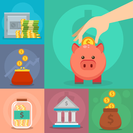 Money vector commercial group payment investment bag graphic Illustration