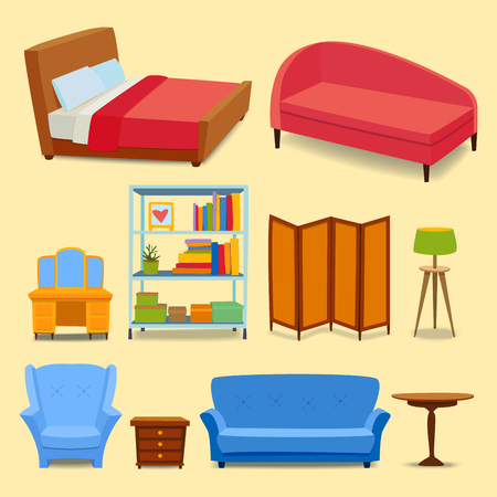 Furniture interior icons home design modern living room house sofa comfortable apartment couch vector illustration Çizim