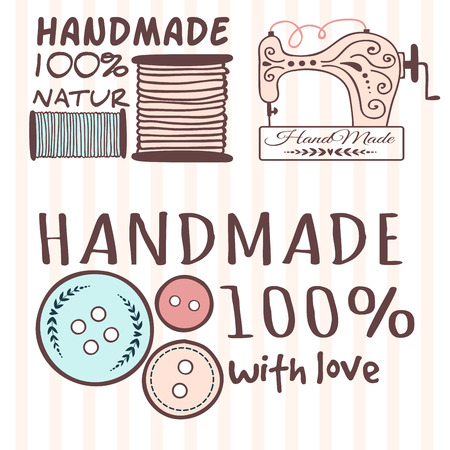 Handmade needlework craft badges sewing banners fashion tailoring tailor handicraft elements vector illustration. Ilustracja