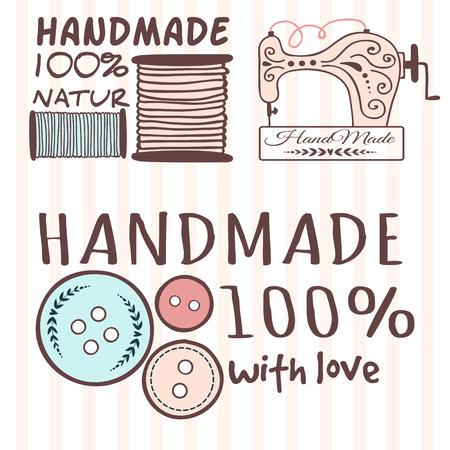 Ręcznie robione odznaki rzemieślnicze szycie banerów moda krawiectwo elementy rękodzieła krawiec ilustracji wektorowych. Ilustracje wektorowe