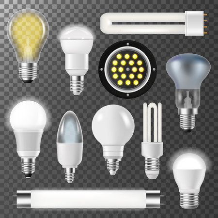 Incandescent lamps light bulbs fluorescent energy bright illuminated electrical glass vector illustration. Illustration