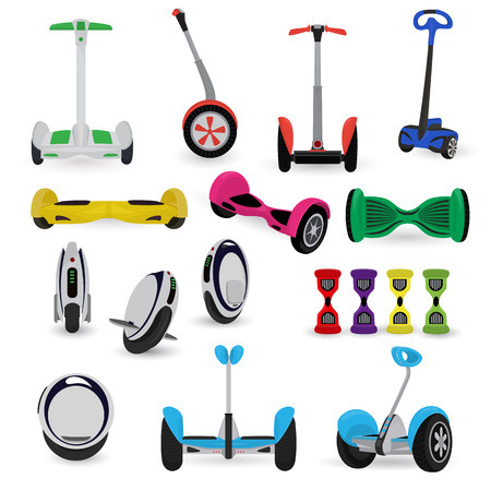 Segway monowheel solo wheel hoverboard gyroscooter set electro eco transport vector illustration Illustration