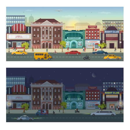 現代都市建築建物の街並みのスカイライン昼と夜 megapolice 市ビューの背景ベクトルイラスト。