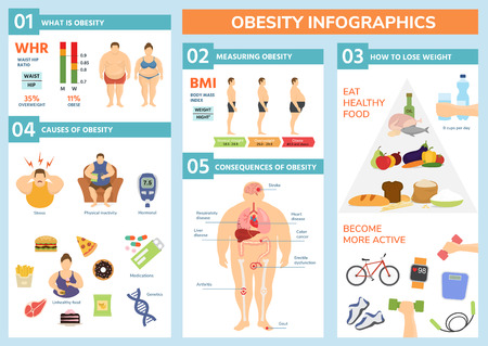 Fettleibigkeit Gewichtsverlust und fette Menschen Gesundheitsprobleme Infografik gesunde Elemente Übung für eine gute Gesundheit mit Lebensmittel-Vektor-Illustration. Vektorgrafik