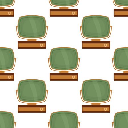 Tv retro seamless pattern colorful old television screen vintage technology broadcast display abstract vector background.