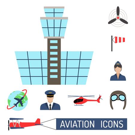 Aviation icons set airline station airport symbols departure terminal plane stewardess tourism vector illustration