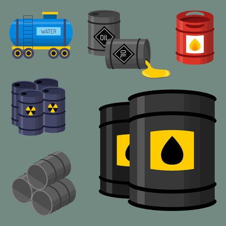 Oil drums container fuel cask storage rows steel barrels capacity tanks natural metal old bowels chemical vessel vector illustration Illustration
