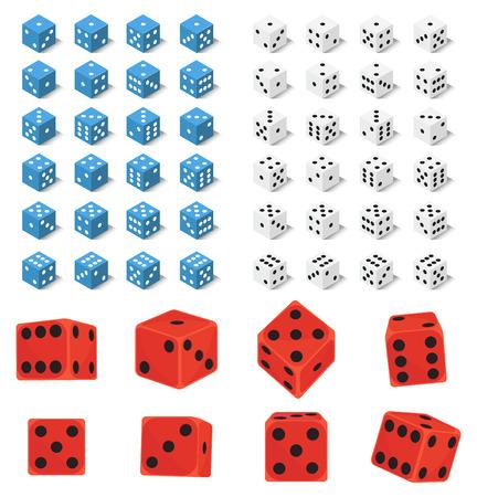 Isometrische dobbelstenen nummer geluk game fortuin casino varianten verlies gokken kubus vectorillustratie.