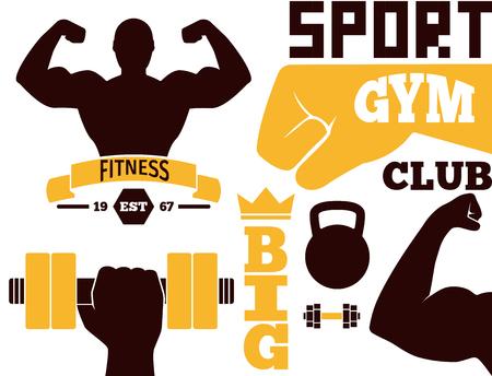fitness equipment: Fitness emblem design element gym sport club strong equipment silhouette vector illustration.