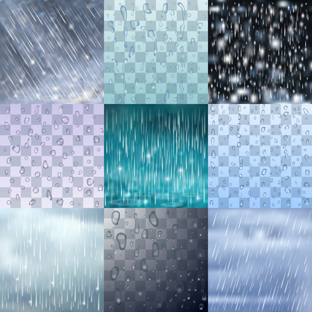 wet paint: Different rain drops and rainy lines background vector water raindrop illustration
