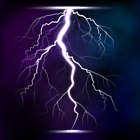 Lightning storm strike realistic 3d light lighting effects vector illustration. Çizim