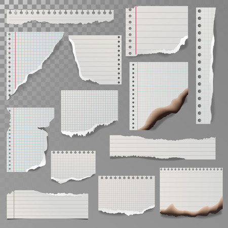 paper note: Pieces of torn white lined notebook paper square line rag white and burned page vector illustration.