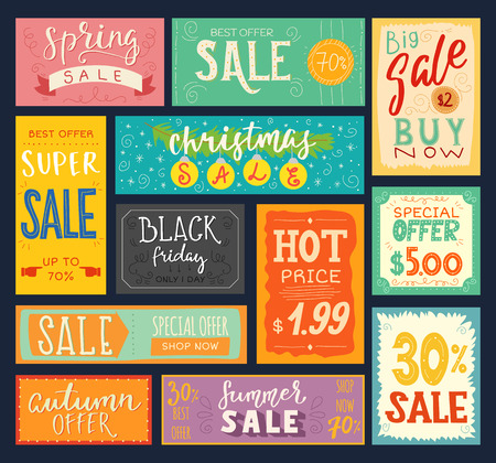 Price tags sales stickers discount promotion sign badge advertising banner offer coupon vector illustration.