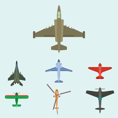 ベクトル飛行機イラスト トップ平面図明るい青の背景に。