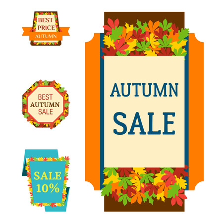 Super sale autumn extra bonus leaf banners text label vector illustration. Çizim