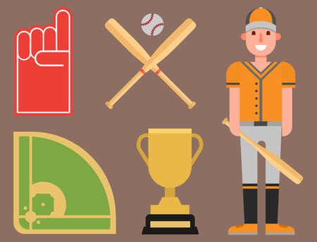 Cartoon baseball player icons on brown background.