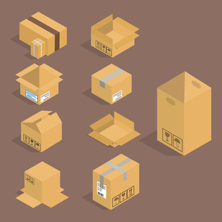 Different box vector isometric icons on brown background.