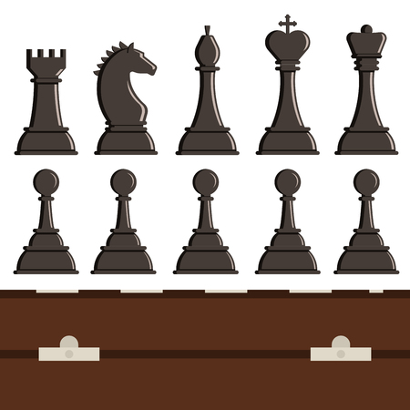 Chess board and chess piece vector illustration.