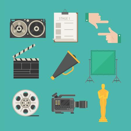 Cinema movie making tv show tools equipment symbols icons on green background.