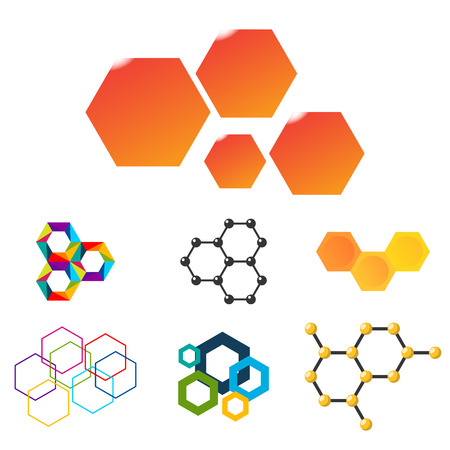A Vector linear hexagon design elements on white background.