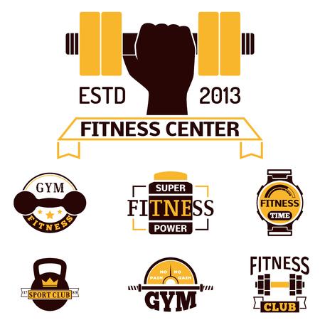 fitness equipment: Monochrome fitness emblem design on white background.