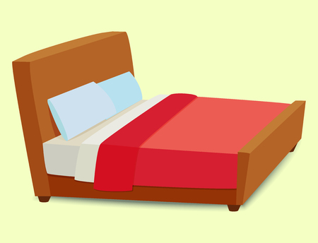 A Vector bed furniture icon on yellow background.