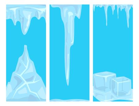 Ice caps sneeuwlaag ijspegels kaart ontwerp arctische sneeuw koud water winter decor vectorillustratie.
