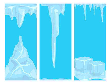 Ice caps snowdrifts icicles card design arctic snowy cold water winter decor vector illustration.