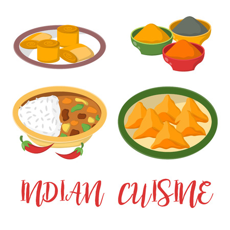 Indian chicken jalfrezi with rice and vegetable curry various spice chicken restaurant healthy cuisine food vector illustration. Stock Vector - 87608509