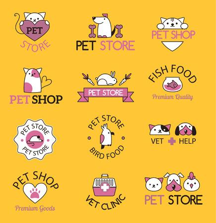cute cartoon: Pet shop symbols vector. Illustration