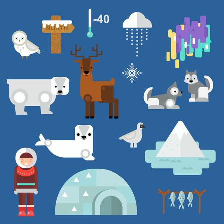 cute cartoon: Wild north arctic people vector.