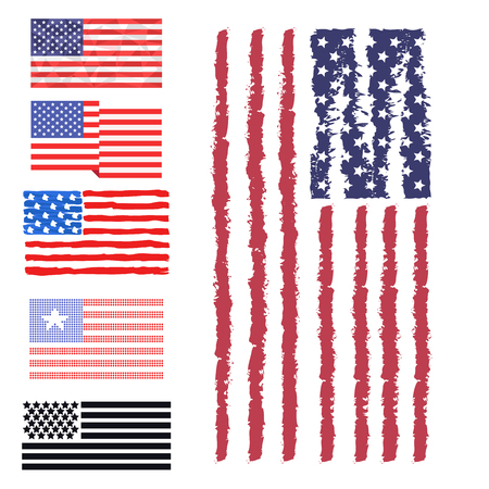 day: Independence day USA flags United States american symbol freedom national sign vector illustration Illustration