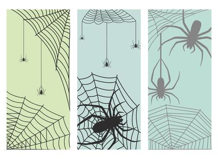 Spinneweb silhouet spinachtige angst grafische vlakke enge dierlijke ontwerp natuur insect gevaar horror halloween vector kaarten.