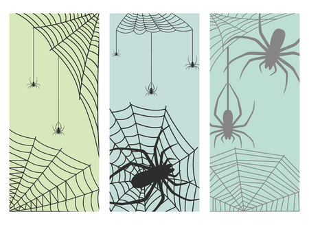 Spider web silhouette arachnid fear graphic flat scary animal design nature insect danger horror halloween vector cards. Illustration
