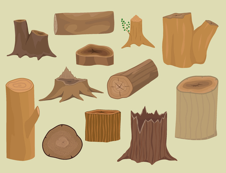 Stacked wood pine timber for construction building cut stump lumber tree bark materials vector set Illustration