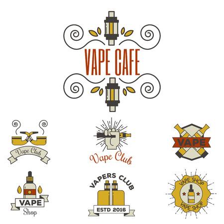 Vaping e-cigarette emblemsvector vintage electronic nicotine cigarette illustration vaporizer device shop design. Illusztráció