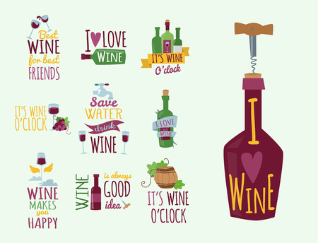 Hand drawn natural badges and labels for wine vector illustration restaurant alcohol menu sign.