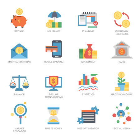 Vector business financial icons set flat style money graph currency finance investment bank exchange card symbol illustration. Stock Vector - 87608525