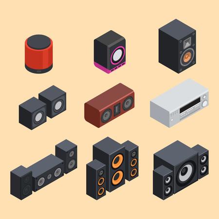 Accueil système de son isométrique stéréo acoustique 3d vecteur musique haut-parleurs lecteur technologie subwoofer équipement. Banque d'images - 87625078