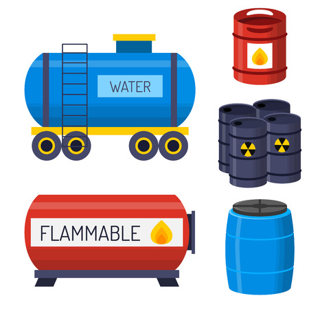 Stapel verschillende olietrommels brandstofhouder vloeistofbakopslagobject.