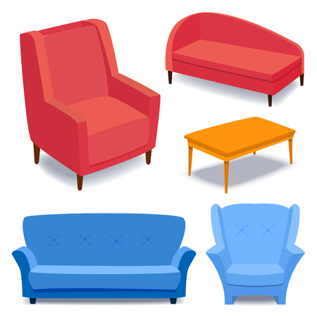 Furniture interior icons home design modern living room house sofa comfortable apartment couch vector illustration Stock Illustratie
