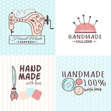 Die handgemachten Handarbeitsausweise, die die Fahnenmode schneidern, schneidern, Schneiderhandwerkselement-Vektorillustration. Standard-Bild - 87713249