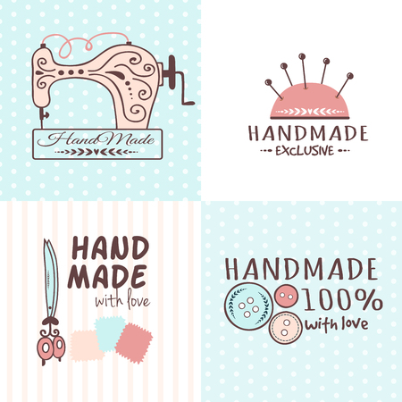 Handmade needlework craft badges sewing banners fashion tailoring tailor handicraft elements vector illustration. Иллюстрация