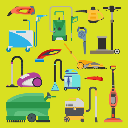 Reinigingsapparatuur vector set. Stock Illustratie
