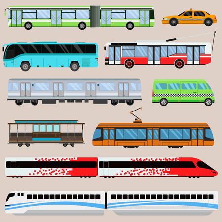 City transport set vector illustration.