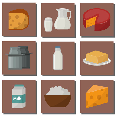 Dairy milk products organic food healthy cream vector fresh cheese glass nutrition farm calcium breakfast grocery.