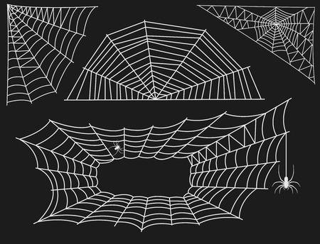 Spider web silhouet arachnid angst grafisch platte vector illustratie. Stock Illustratie
