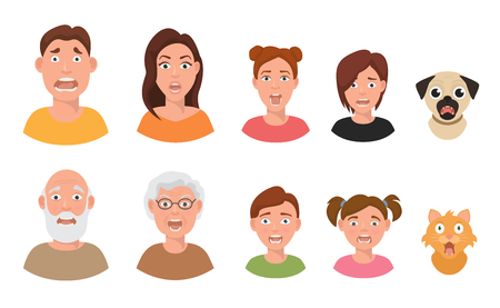People facial emotions afraid fearful scared windy emotions human faces different expressions vector illustration in flat style. Illustration