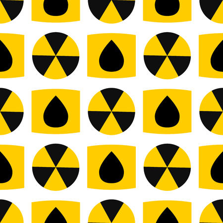 Seamless pattern background nuclear power sign vector industrial electric pollution station chimney reactor symbol