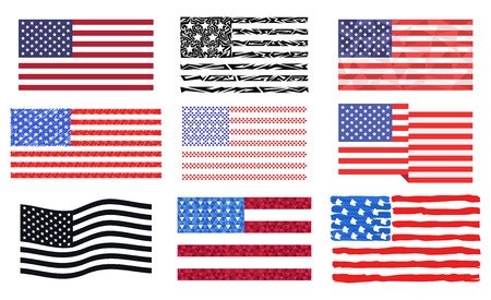 Independence day USA flags United States american symbol freedom national sign vector illustration Banque d'images